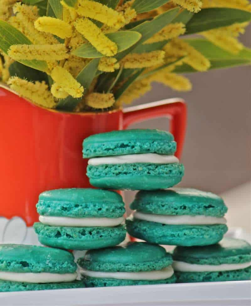 Festive Green Almond Rose French Macarons