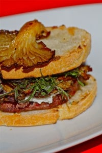 Grilled Hamburger with Goat Cheese, Red Frill, and Fried Oyster Mushrooms on Toasted Ciabatta