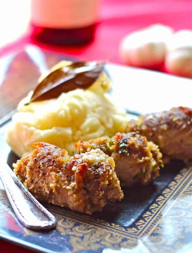 Veal Spiedinis with Grated Pecorino Romano and Parmesan