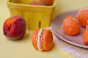 Fresh Peach French Macarons with Peach Buttercream Filling