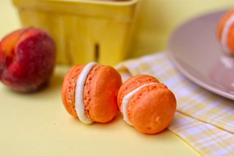 Peach French Macarons with Peach Buttercream Filling