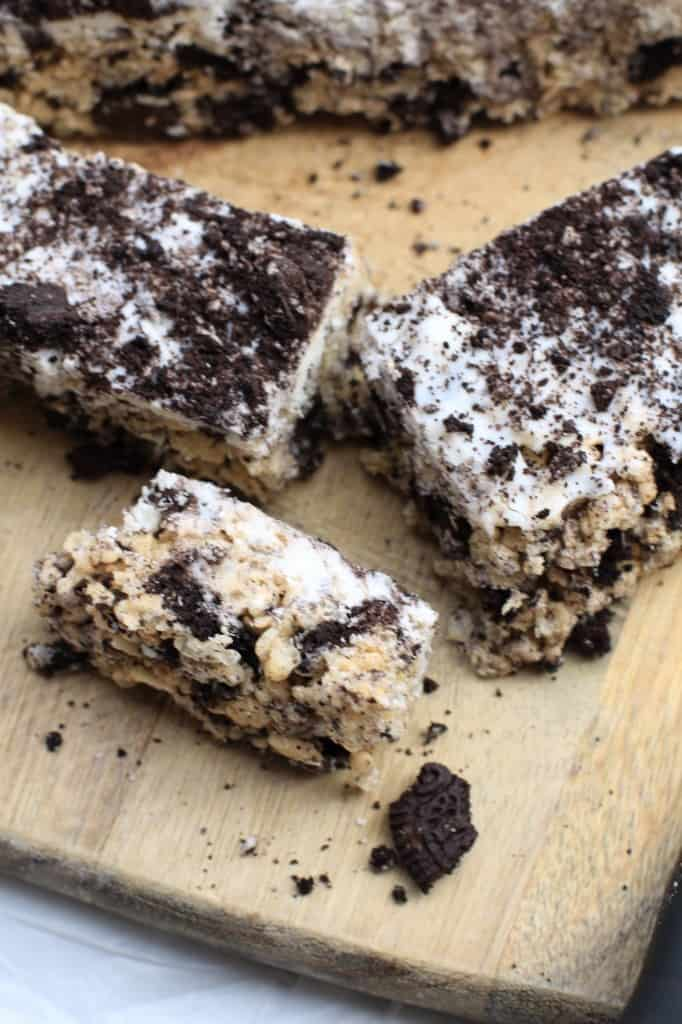 Crushed Oreo Cookie Rice Krispie Treat