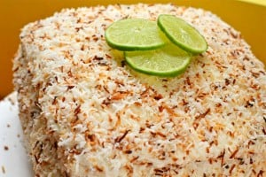 4 Layer Coconut Cake with Lime Coconut Cream Cheese Frosting