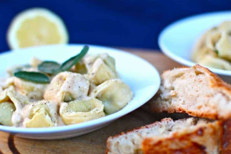Lemon Mascarpone Browned Butter Tortellini With Bread