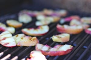 Grilled Peaches with Butter and Vanilla For Cobbler