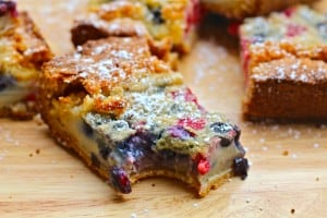 Summer Custard Bars With Fresh Berries Garnished With Powdered Sugar