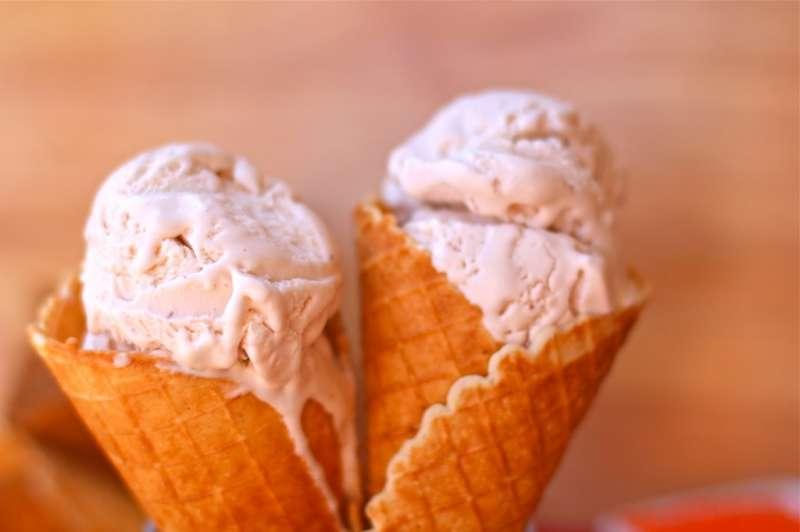 Strawberry ice cream waffle cone