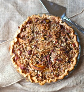 Fresh Peach Pie with Crumble Topping and Caramel Whiskey Sauce