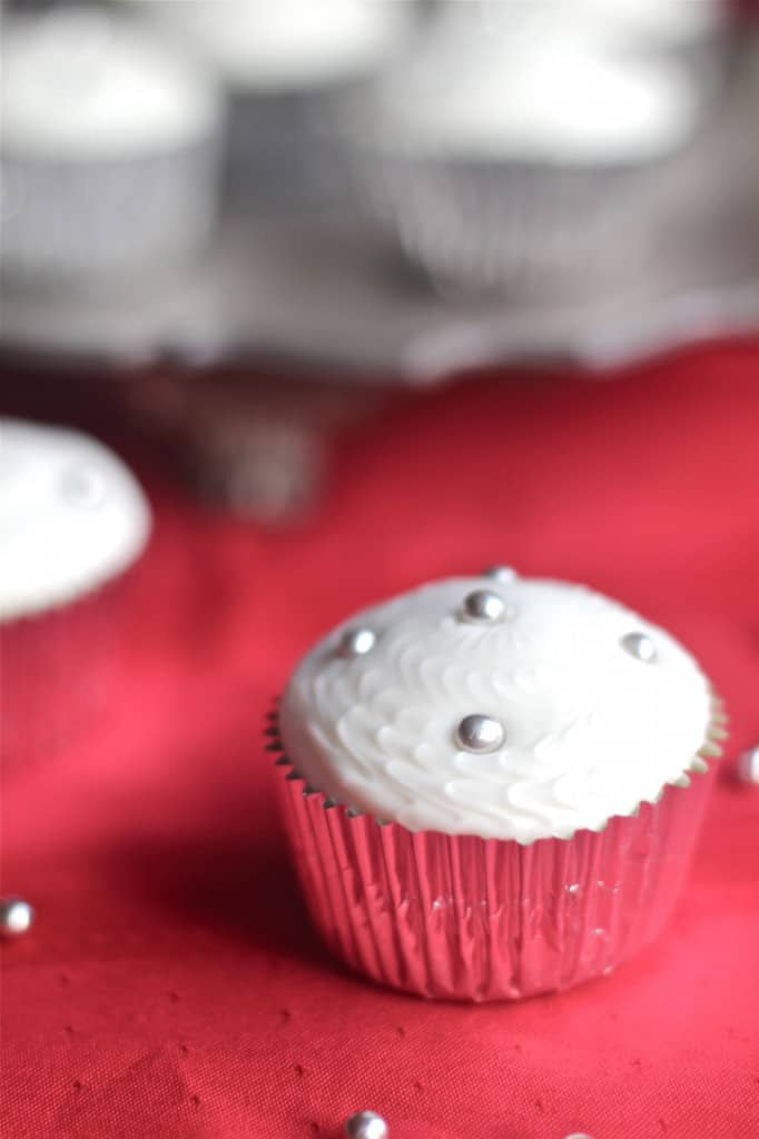 Winter Eggnog Cupcakes With Silver Decorations