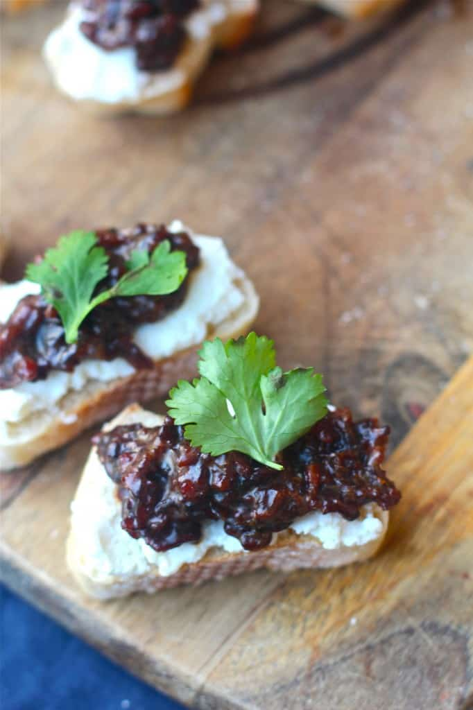 Bacon Jam Crostinis Garnished with Parsley