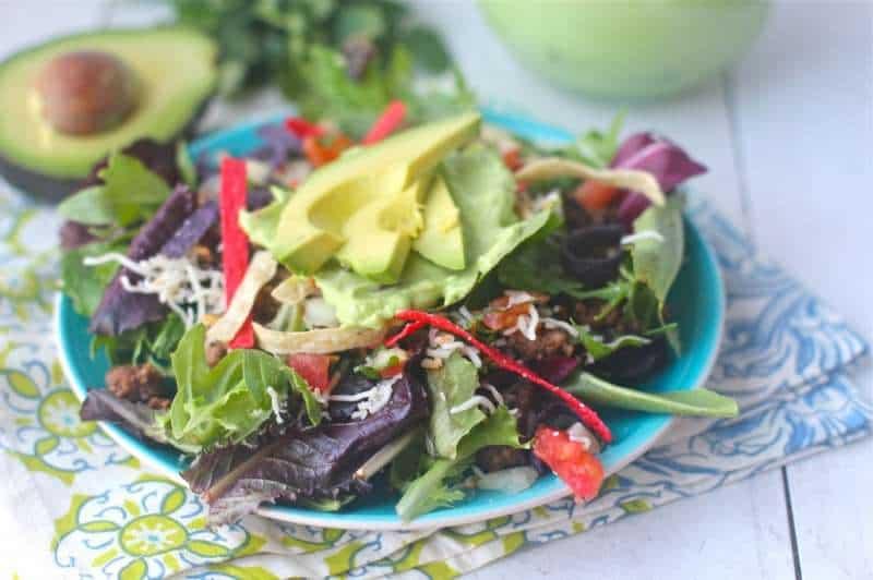 Mixed Green Salad  and Creamy Avocado Cilantro Dressing
