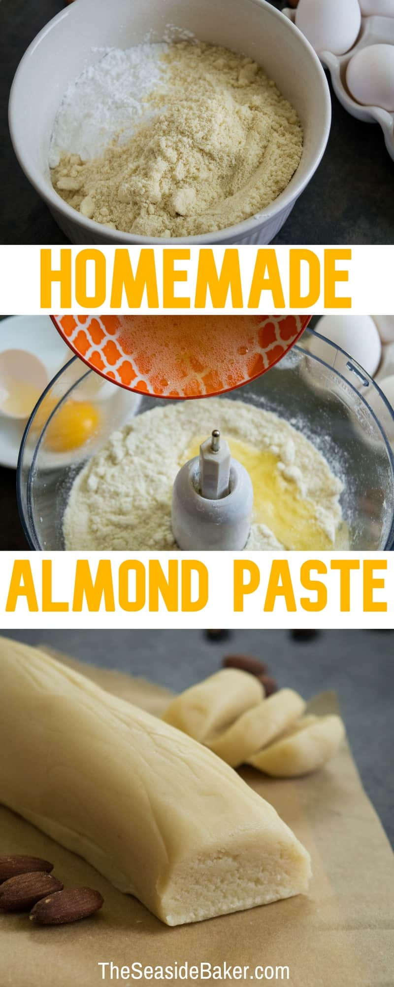 Homemade Almond Paste - This can be made in about 5 minutes for half the cost of store-bought! | #TheSeasideBaker #almondpaste #cookierecipes | See this and other delicious recipes at TheSeasideBaker.com
