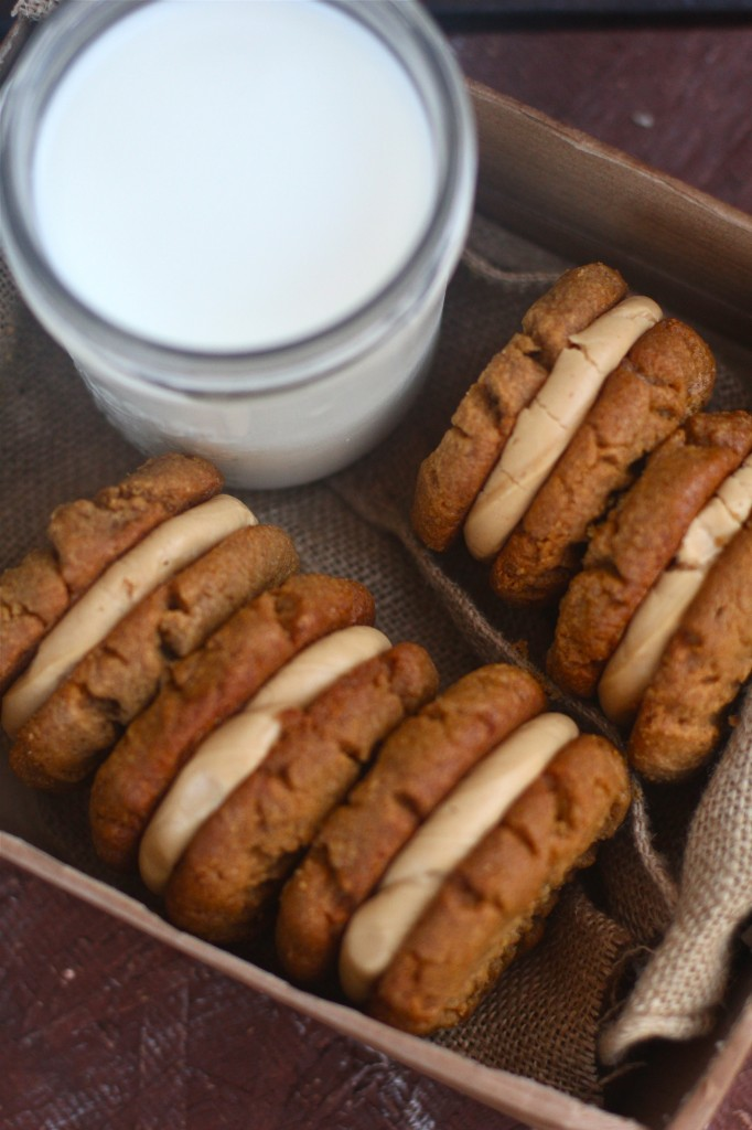 PB Cookie Sandwiches and Milk!