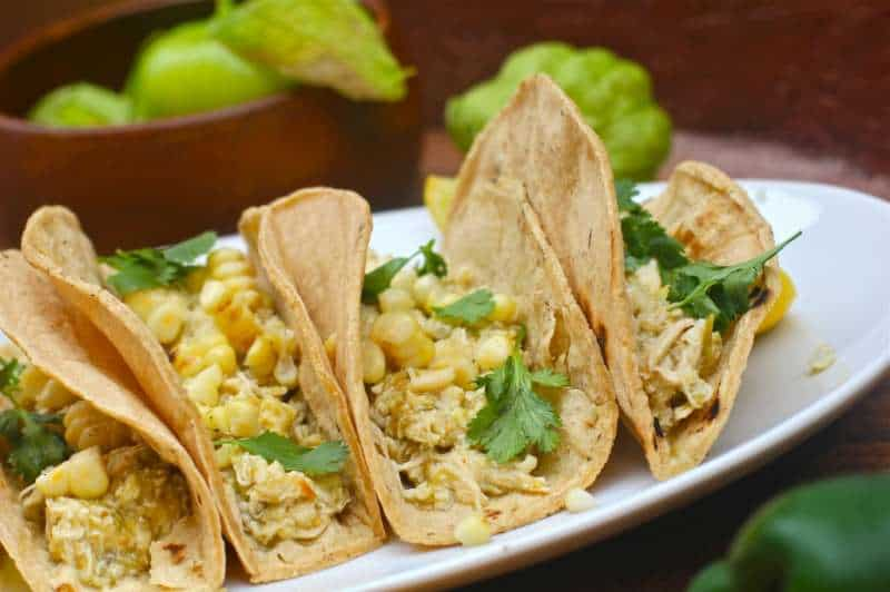 Chicken Verde Tacos With Corn