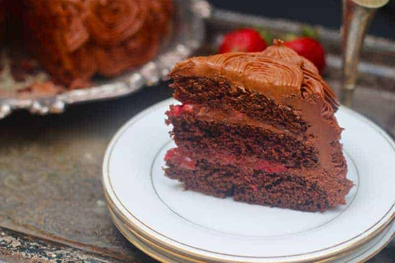 Chocolate cake with balsamic roasted strawberries