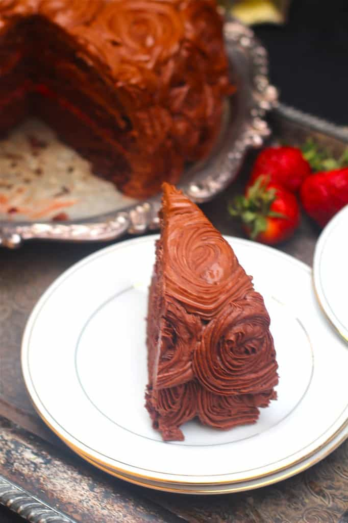 Chocolate Cake with Strawberries and Milk Chocolate frosting