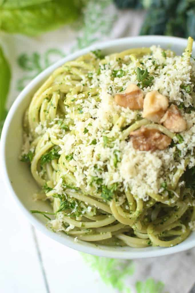 Walnut Kale Basil Pesto Pasta with Chicken