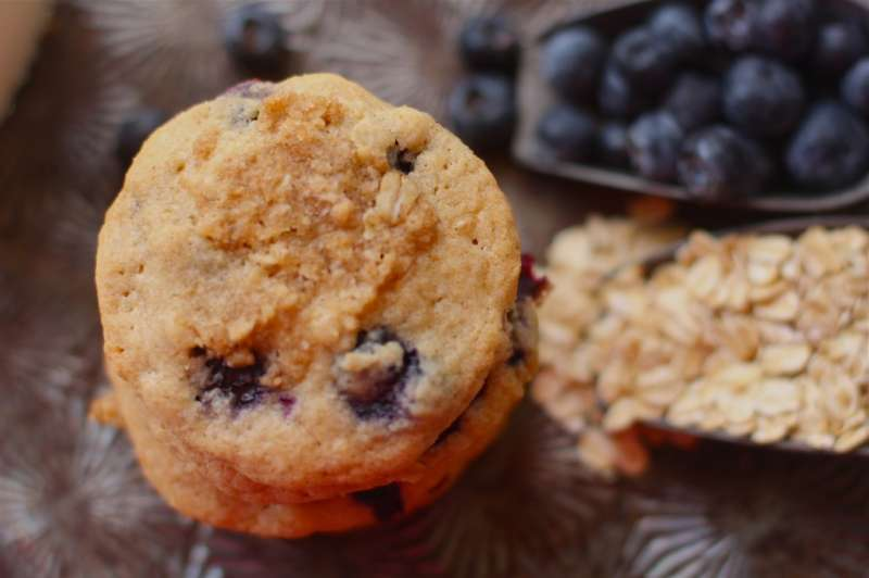 Chewy Cookies Studded with Fresh Blueberries and Topped with Brown Sugar Crumble