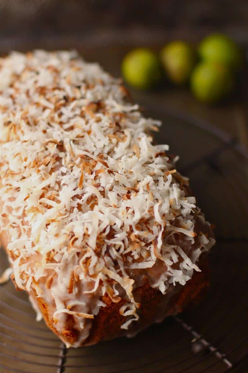 Lemon Coconut Pound Cake with Lime Glaze and Coconut Shavings