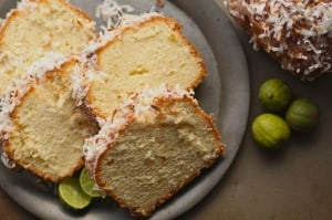 Lemon Pound Cake with Lime Glaze and Toasted Coconut Shavings