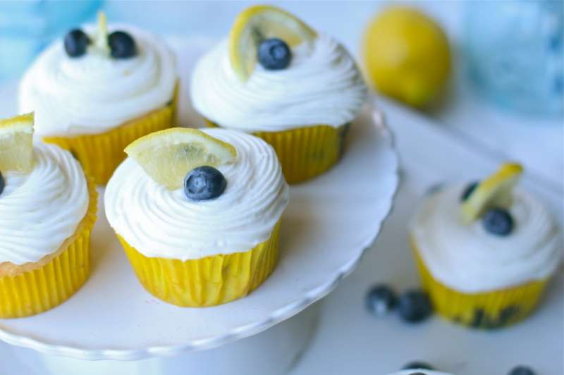 Zesty Sweet Gluten Free Lemon Blueberry Cupcakes