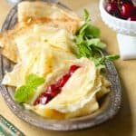 French Crepes with Cherry Mascarpone Filling