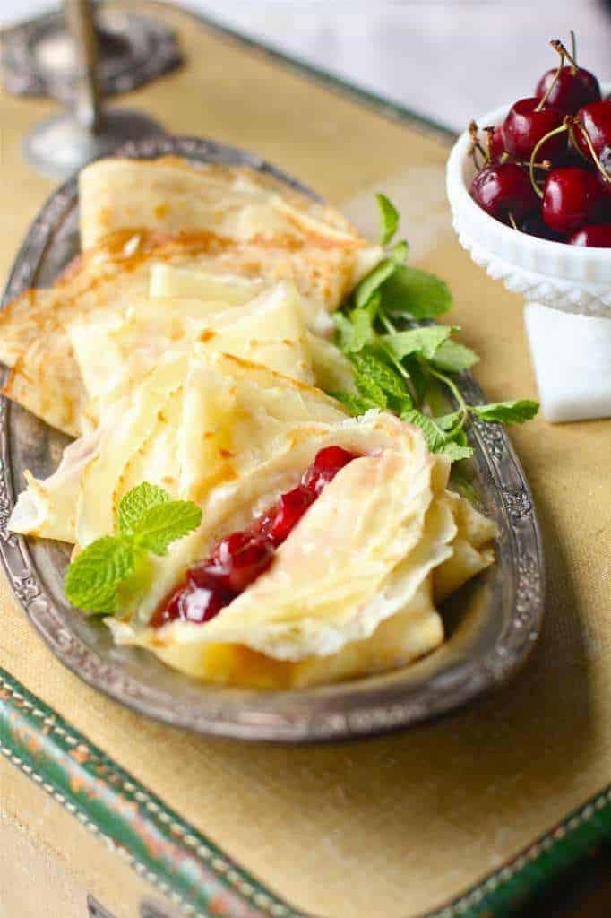 Beer Crepes with Mascarpone and Cherry Compote