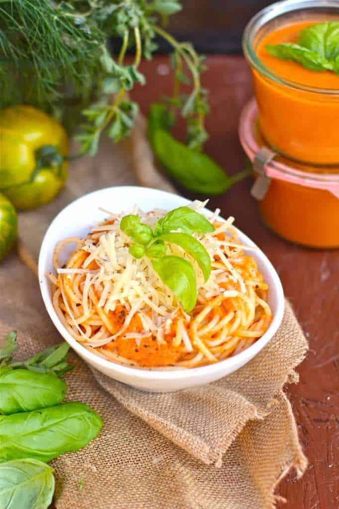 Homemade Spaghetti Sauce with Fresh Parmesan and Basil