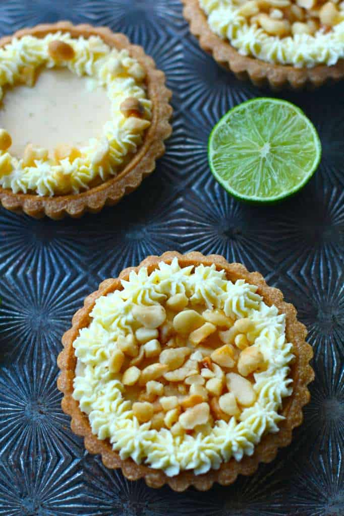 Key Lime Macadamia Nut Tarts with Whip Cream Topping
