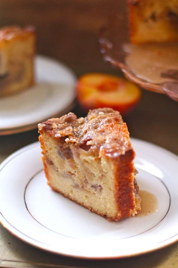 Double Decker Peach Coffee Cake made with Yogurt and Browned Butter- YUM!