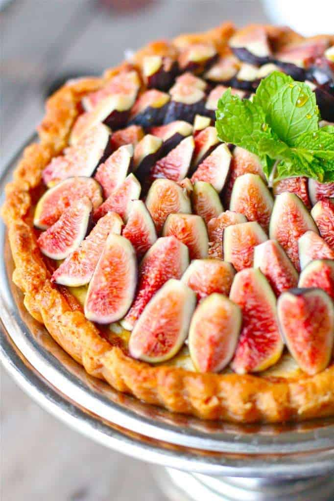Honey Mascarpone Amaretti Tart with Fresh Figs and Mint