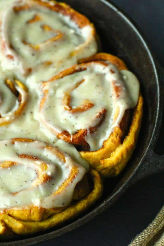 Pumpkin Cinnamon Rolls with Brown Butter Cream Cheese Frosting - The ...