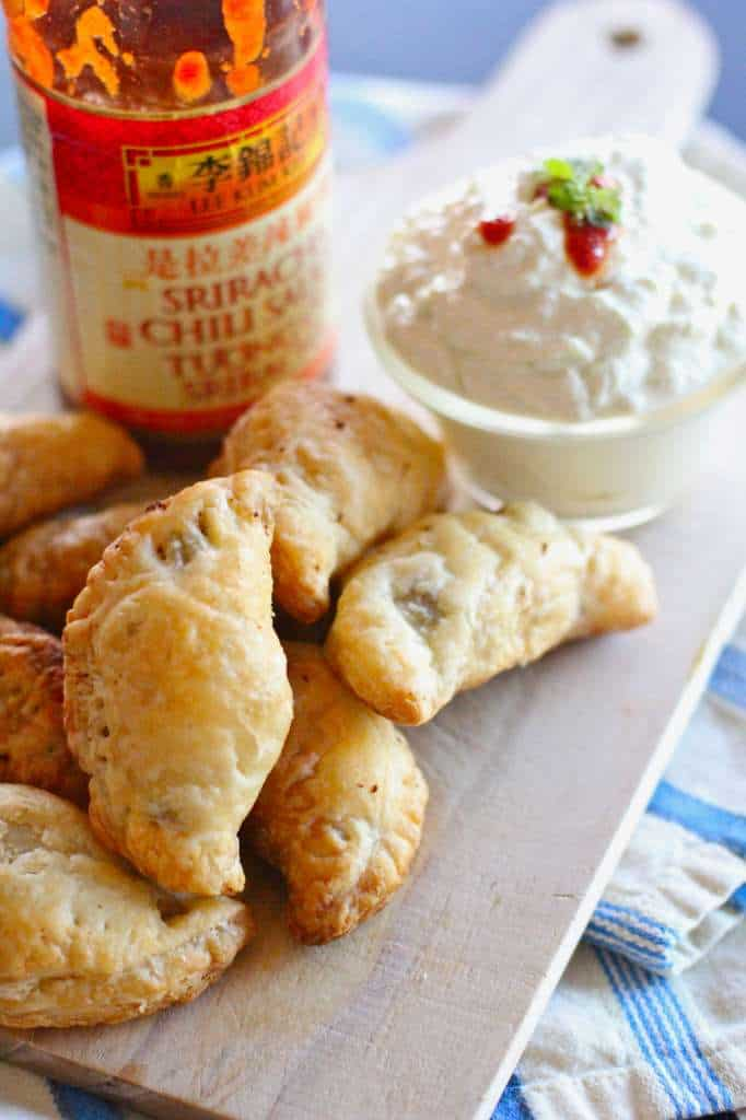 Spice Sriracha Empanadas with Green Curry Dipping Sauce