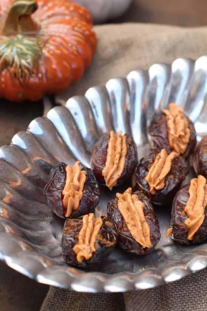 Pumpkin Spiced Cream Cheese Filled Medjool Dates
