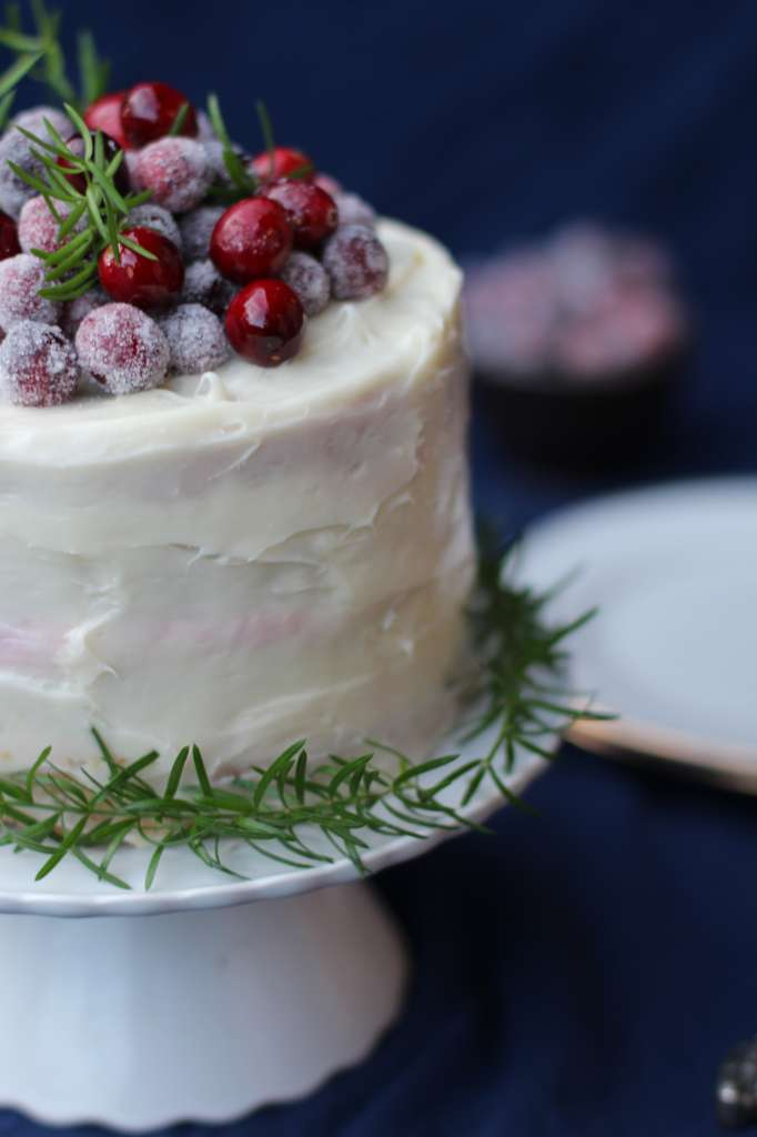 Christmas Cheer Cranberry Mousse Cake with White Chocolate Frosting