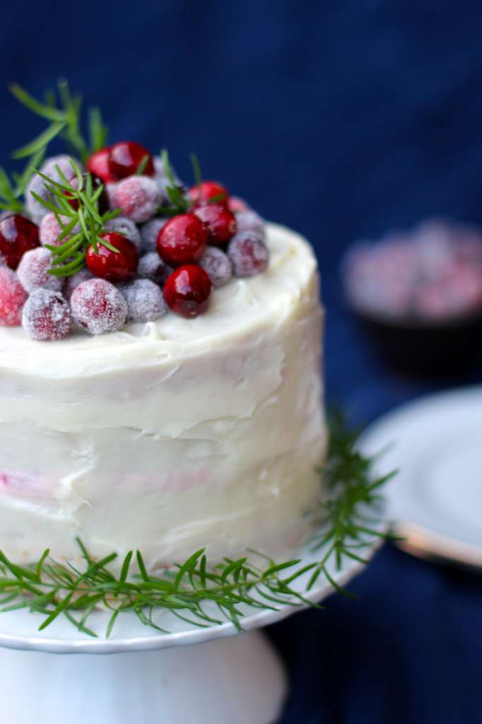 Vanilla Butter Cake With Cranberry Mousse Layer Cake