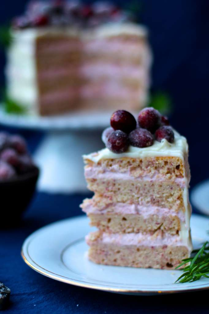 Cranberry Mousse Cake with White Chocolate Frosting