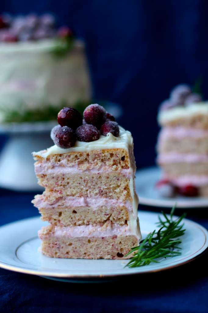 Delicious Cranberry Mousse Cake with White Chocolate Frosting