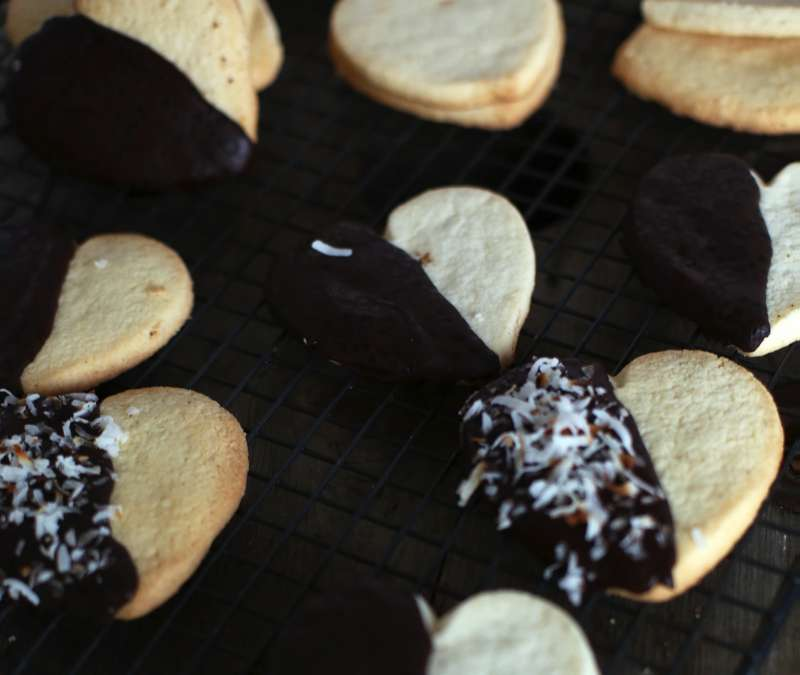Chocolate Dipped Shortbread Hearts - The Seaside Baker