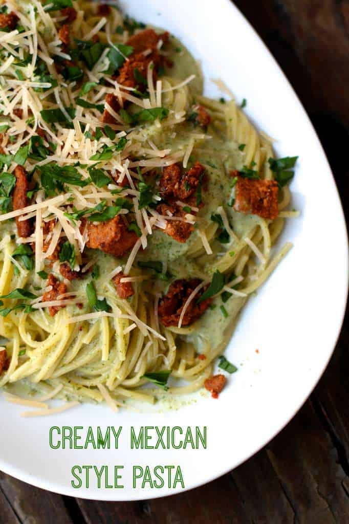 Quick Pasta with Cilantro Cream Sauce