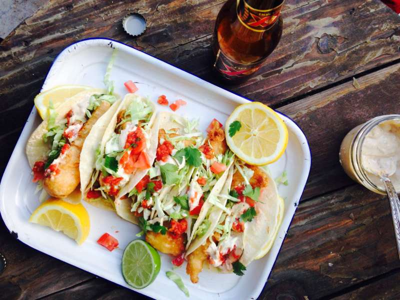 Beer battered fish tacos with chipotle tartar sauce the for Beer battered fish tacos recipe