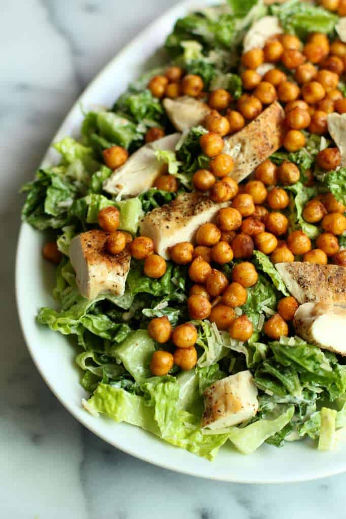Delicious caesar salad with chickpea croutons