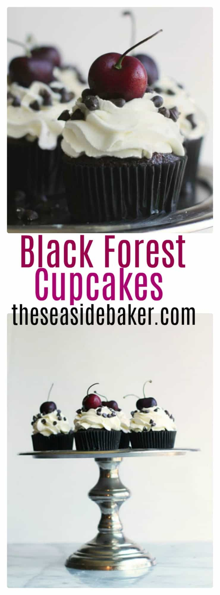 Chocolate cupcakes studded with chopped cherries and topped with fresh whipped cream and more chocolate. #cupcakes #chocolate #chocolatecupcakes #blackforest #germancake #cupcakerecipe