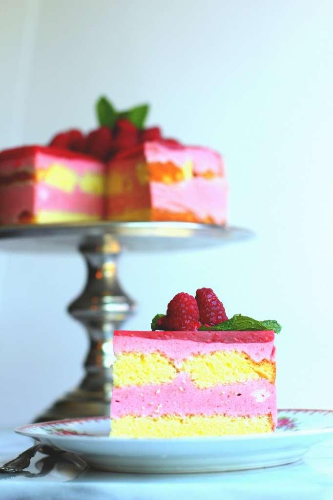 Raspberry Lemon Gelée Cake