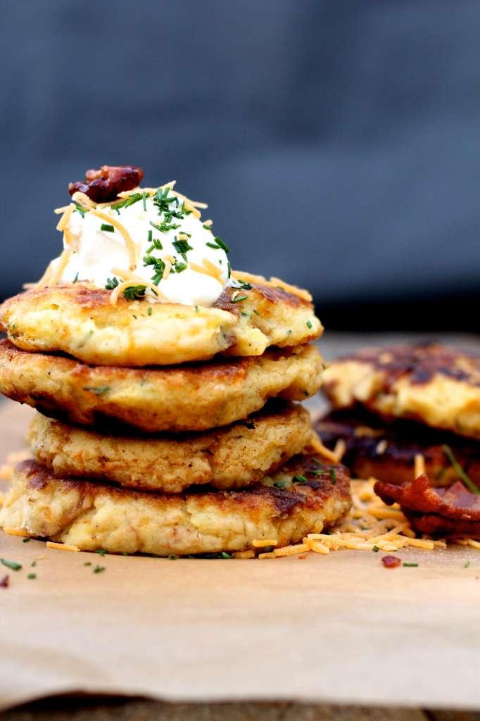 Bacon Cheddar Mashed Potato Pancakes #TasteTheSeason # ...