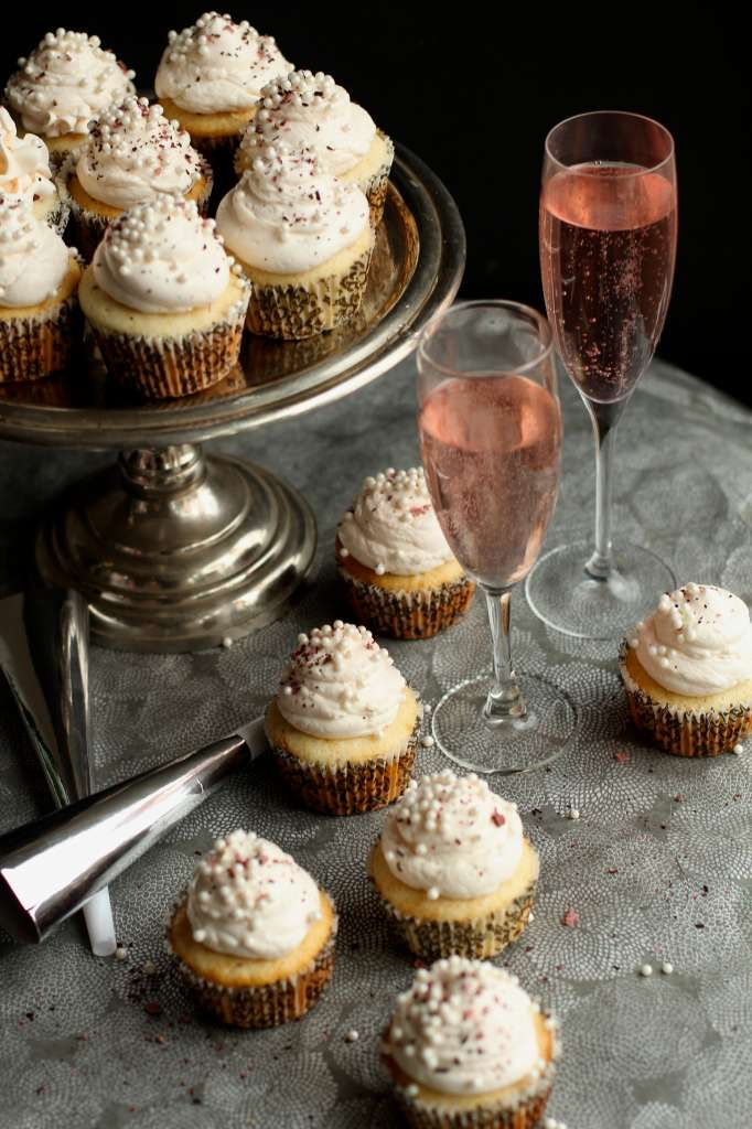 Champagne Cupcakes with Rose Hibiscus Meringue Buttercream