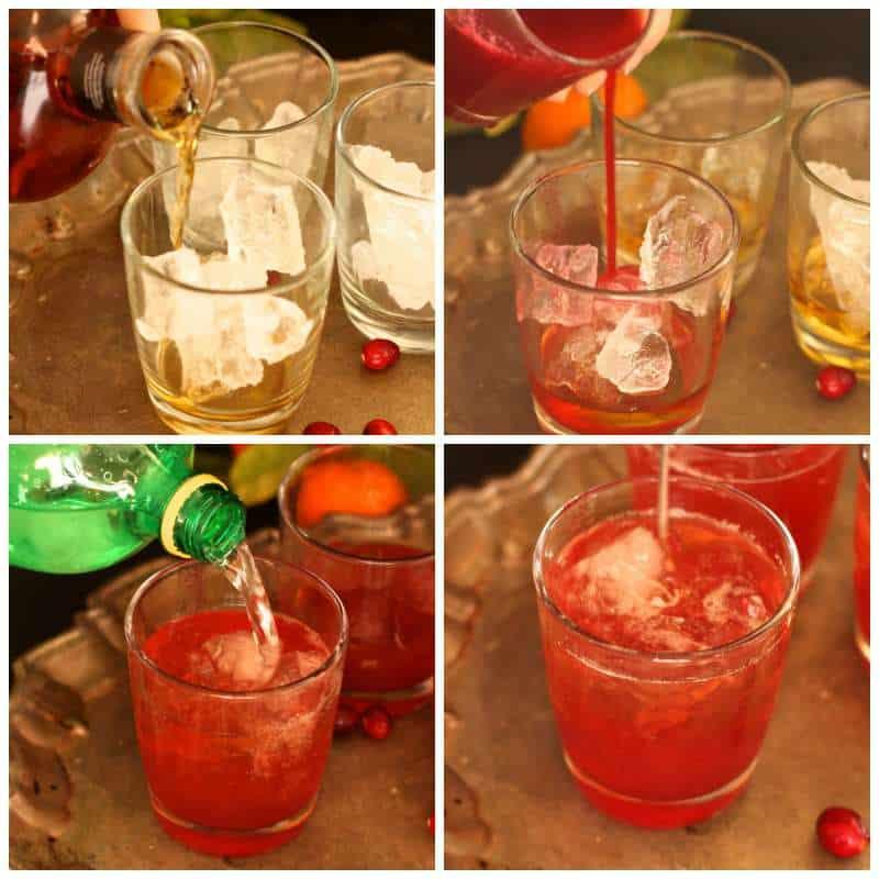 cocktail making Bourbon Cranberry Fizz