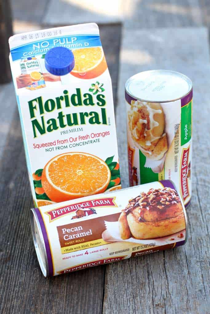 Florida's Natural OJ and Pepperidge Farm Cinnamon rolls