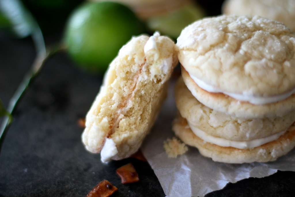 lime and coconut sandwich cookies
