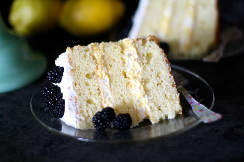 lemon mousse cake slice
